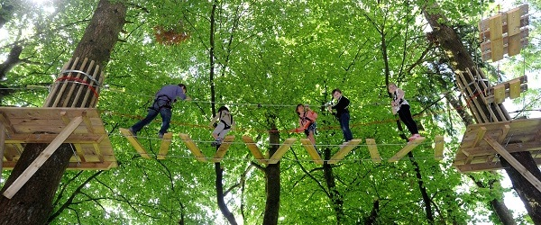 Junior high ropes course Tree Surfers Devon Cornwall